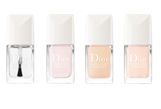top-coat-abricot-diorlisse-abricot-pc3a9tale-de-rose-base-coat-abricot-and-diorlisse-abricot-rose-des-neiges-nail-colors-from-the-manucure-abricot-line-dior+le chodraui